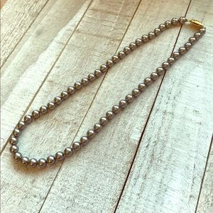 Vintage Faux Gray Gunmetal Color Pearl Necklace